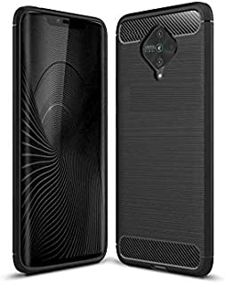 Cassby Drop Tested Shock Proof Slim Armor Rugged TPU Carbon Fibre Back Cover Case for Vivo S1 Pro (Metallic Black)