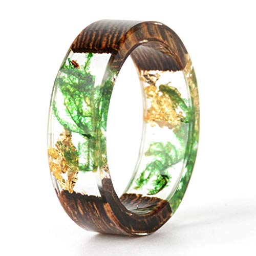 NDJEWELRY Unique Handmade Wood Resin Ring with Green Seaweed and Gold Foil Insided Gold Crystal Ring Best Gift for Her Size 7.5