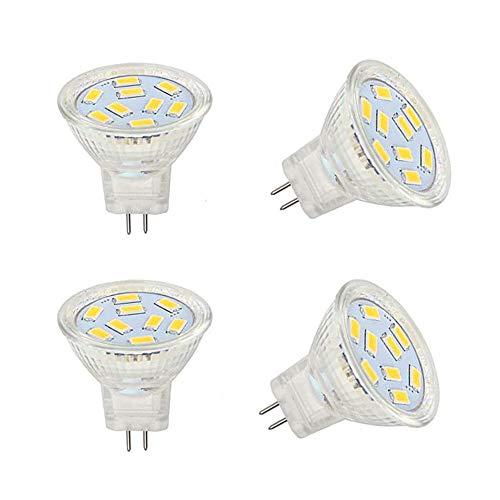 Bombilla LED MR11 2W 12V GU4 24V, MR16 GU5.3 Bombilla LED de 5W para el hogar, paisaje equivalente halógeno de 20W 50W, empotrable, luz de riel (blanco, MR11)
