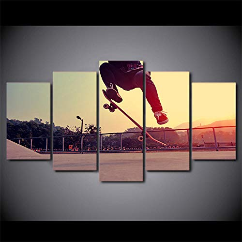 ALLHZ Moderne Hd gedrukte canvas foto's kader extreme sport poster woonkamer cultuur 5 stuks spel skateboard schilderij muurkunst (8 x 14 x 2; 8 x 18 x 2; 8 x 22 x 1) (frame) (16x24x2;16x32inx2;16x40inx1)