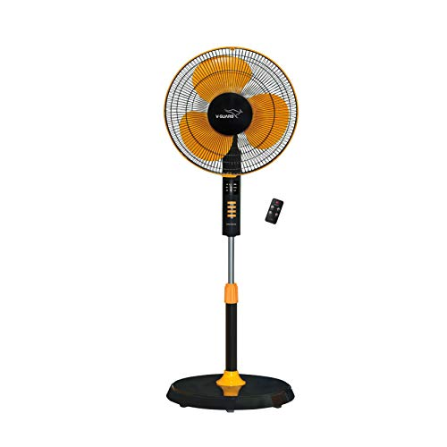 V-Guard Esfera Pedestal Fan with Remote and Timer; Speed: 1300 RPM, Sweep: 400mm and Power Consumption: 52W (Orange, Black)