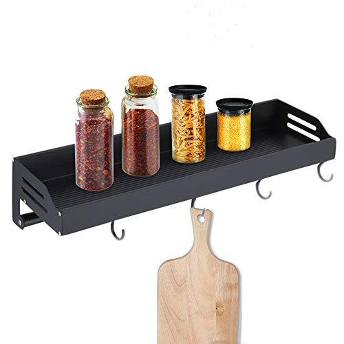Elinala Especiero Cocina Pared, Colgador Utensilios Cocina, Rack Organizador de Pared de Aleación de Aluminio con Gancho y Barra de Toalla para Cocina y Baño (Negro)