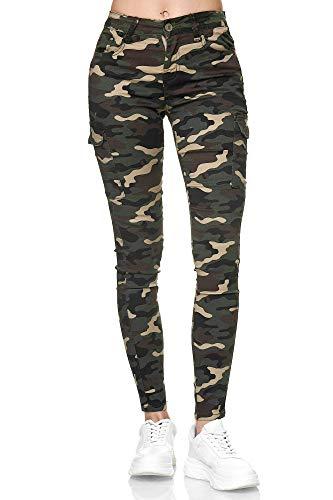 Elara Damen Cargo Jeans Slim Fit Seiten Taschen Chunkyrayan MA7225 Army-36 (S)