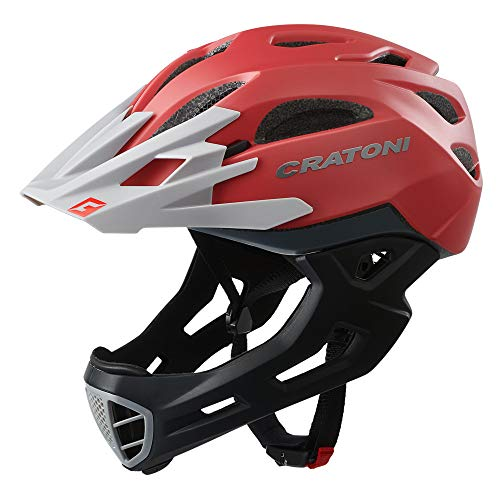 Cratoni C-Maniac Fahrradhelm Fullfacehelm BMX Freeride Downhill (red-Grey, M-L (54-58 cm))