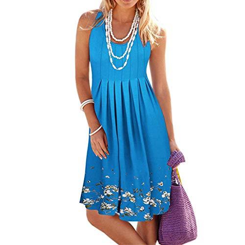Kiyotoo Womens Summer Casual Floral Spaghetti Strap Backless V Neck Boho Button Backless Mini Swing Skater Short Dress
