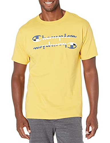 Champion Camiseta clásica para hombre, Multi Script, Butterscotch Bliss-586596, Small