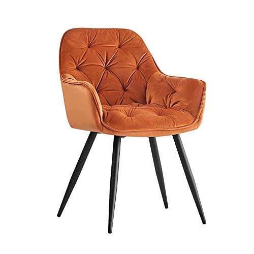 AINPECCA Esszimmerstuhl aus Samt, dick gepolstert, gepolstert, mit schwarzen Metallbeinen (Orange, Samt)