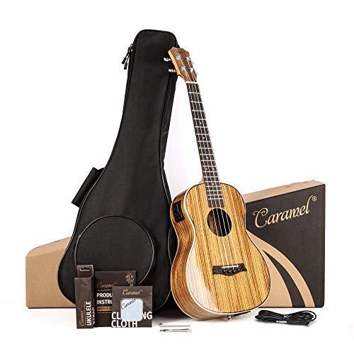 Caramel 26 inch CT103 Zebra Wood High Gloss Tenor Electric Ukulele Professional Ukelele Kit Beginner Guitar Starter Bundle Strings, Padded Gig Bag, Strap and Wall mount Set