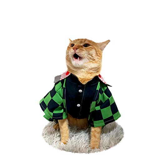 JSVDE Anime Kimetsu no Yaiba Pet Cartoon Costume Cosplay for Cat & Small Dog (Tanjiro Kamado)
