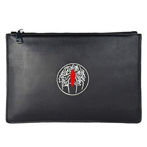 Lederen clutch Bag handtas polshorloge met ritssluiting voor het werk/reizen portemonnee voor mannen business-schoudertassen mobiele telefoon tassen werktassen, zwart