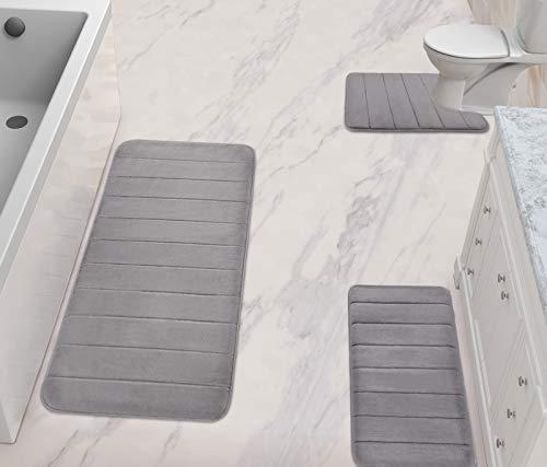 Gray Bathroom Rugs Slip-Resistant Extra Absorbent Soft Memory Foam Bath Mat Set Large Floor Mats Dry Fast Machine Washable (Set of 3 - 44.1' x 24'/31.5' x 19.8'/24.4' x 20.2 'Toilet Mats)