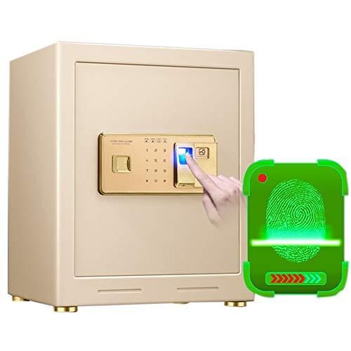 Tresor Fingerabdruck-Safes mit Zahlenschloss, feuerfeste tragbare Stahlschrank-Safes, für Geldkasse Buchschmuckmedikation, Gold