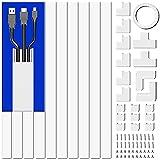 Kabelkanal Set, Kabelkanal Selbstklebend Weiss, Kabelkanal Weiß für alle Netzkabel in Haushalt/Büro, 10 Stück x L40cm*W2,4cm*H1,4cm, Weiß