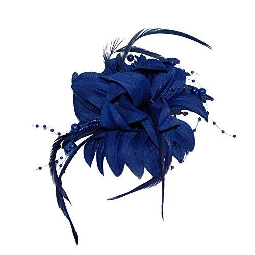 Tocado de broche de clip con cuentas de flor y pico de plumas azul marino