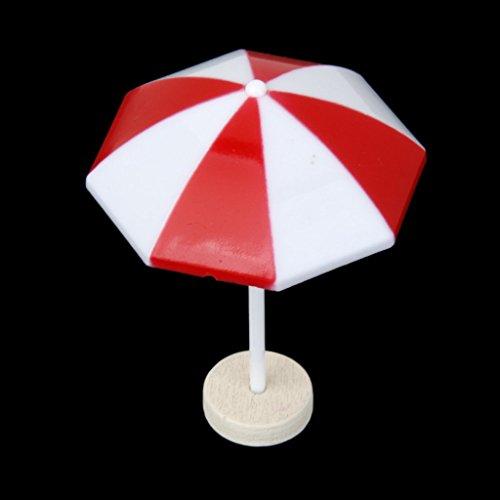 Paraguas de Sol Sombrilla Miniatura Decoración para Playa Bonsai Casa de Muñecas Roja