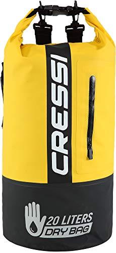 Cressi Dry Bag Premium 20L Bolsa/Mochila Impermeable Bicolor para Actividades Deportivas, Unisex Adultos, Negro/Amarillo, 20 L