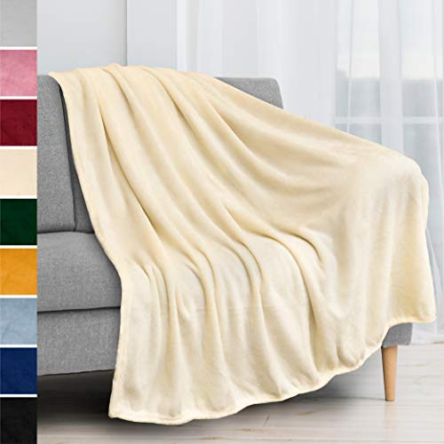 PAVILIA Fleece Blanket Throw   Super Soft, Plush, Luxury Flannel Throw   Lightweight Microfiber Blanket for Sofa Couch Bed (Cream, 50x60 inches)