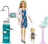 Barbie Métiers coffret poupée Dentiste blonde et sa mini-poupée patiente blonde, lavabo, fauteuil et accessoires, jouet pour enfant, FXP16