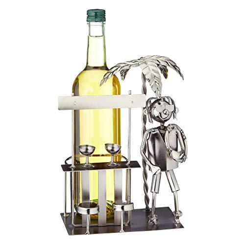 Cepewa Weinflaschenhalter Urlaub Flaschenhalter Flasche Sekt Wein Halter Verschiedene Motive (1 x Flaschenhalter Urlaub)