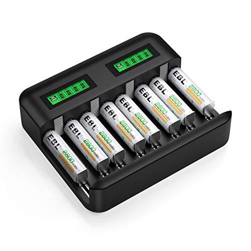 EBL Akku ladegerät für AA AAA C D NI-MH Akkus mit 8X AA 2800mAh Akku, Type C Input Schnell ladegerät, LCD Anzeige Batterienladegerät