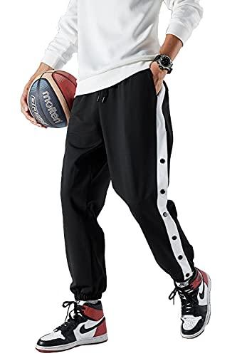 [Bekoo]ベクー ジャージ バスケットボール パンツ 裾ボタン サイドボタン トレーニングウエア バスパン 2 ブラック2 M