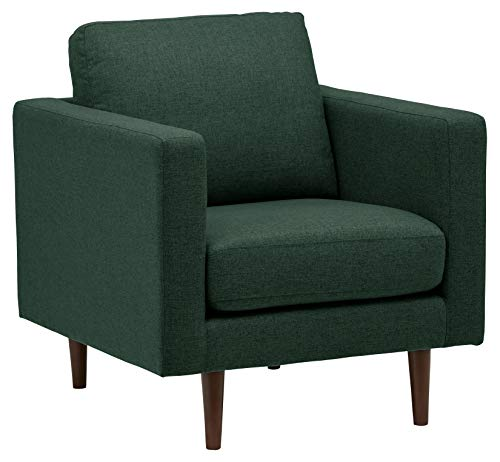 "Amazon Brand – Rivet Revolve Modern Upholstered Armchair with Tapered Legs, 33""W, Heritage Green"