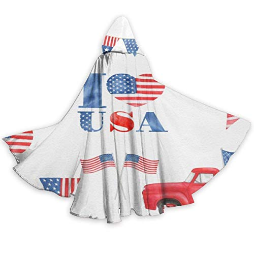 NR Amerikanische Flagge LKW Halloween Umhang Fancy Kapuze Cape mit Kordelzug Adult kühle Hexe Robe extralange Partei Cape