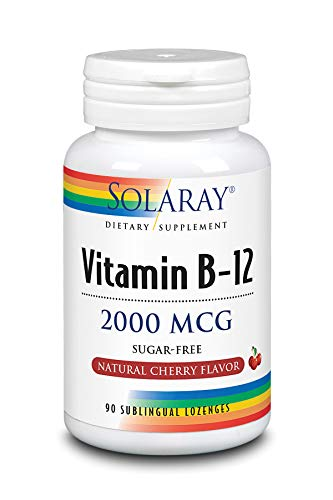 Solaray Vitamin B-12 2000 mcg | Sugar-Free Natural Cherry Flavor | Healthy Energy & Red Blood Cell Support | 90 Lozenges