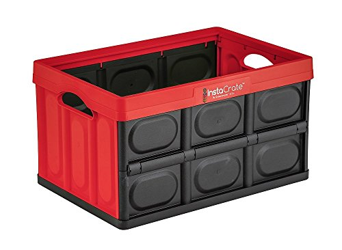 GreenMade InstaCrate Collapsible Storage Container, 12 gal, Red/Black
