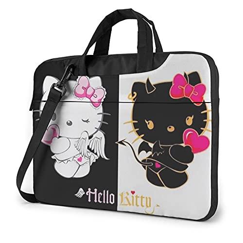 Angel Devil Hello Kitty Laptop Bag Sleeve Case,360 Protective Shock-proof Shoulder Messenger Bag Handle Office Bags for Men Women 13 inch