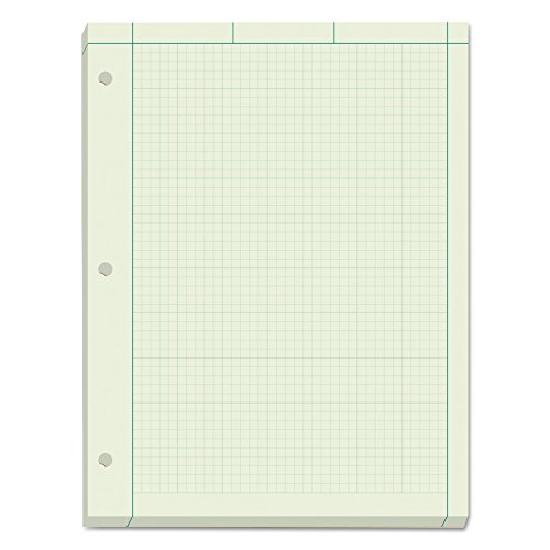 "TOPS Engineering Computation Pad, 8-1/2"" x 11"", Glue Top, 5 x 5 Graph Rule on Back, Green Tint Paper, 3-Hole Punched, 200 Sheets (35502)"
