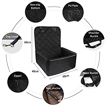 Yikaich Housse de Siège Auto pour Chien Housse de Protection siège Avant Imperméable pour Transport Animaux en Voiture 48x48x60cm - Noir
