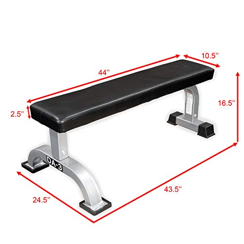 Valor Fitness DA-3 Versatile Flat Bench with an Arched Base for Additional Support – Supports Up to 550 lb