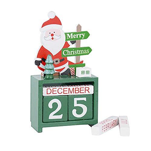 SERWOO 1pz Calendario di Avvento Natale Legno Calendario Perpetuo Decorazioni Natalizie Tavola Regalo Decorativo Babbo Natale