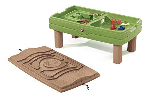 Step2 Naturally Playful Table de jeu Sable et Eau avec Parasol & Kit d'Accessoires de 5 Pièces | Table de Jeu Enfant à Eau pour le jardin