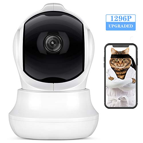 Caméra de Surveillance WiFi Intérieur 1296P Infrarouge Caméra Dôme avec Détection de Mouvement Audio Bidirectionnel Supporte Carte MicroSD jusqu'à 128G ELEHOT