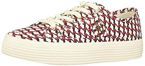 Tommy Hilfiger Zapatillas Platform Iconic FW0FW058040K5, blanco, rojo y azul., 36 EU