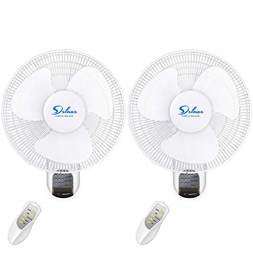 Simple Deluxe 2 Pack-16 Inch Digital Wall Mount Fan with Remote Control 3 Oscillating Modes, 3 Speed, 72 Inches Power Cord, white