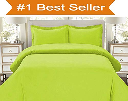 Elegant Comfort Best, Softest, Coziest Duvet Cover Ever! 1500 Thread Count Egyptian Quality Luxury Super Soft WRINKLE FREE 3-Piece Duvet Cover Set, King/Cali King, Lime