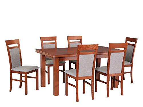 Mirjan24 Esstisch mit 6 Stühlen DM41, Sitzgruppe, Küchentisch, Esstischgruppe, Esszimmer Set, Esstisch Stuhlset, Esszimmergarnitur, DMXZ (Kirsche/Kirsche Inari 23)