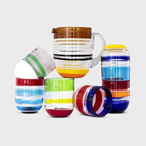 Set Bicchieri Cangiante in Vetro di Murano (6+Caraffa)