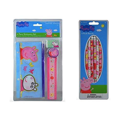 Peppa Pig Stationary Set & Pencil Bag - 6 Pencils, Ruler, Sharpener & Eraser