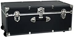 Ideal for summer campers or dorm dwellers Engineered wood construction Black high-impact binding with nickel plated hardware Durable recessed wheels for easy moving Secured with push-button key lock and accommodates a padlock (sold separately) for ex...