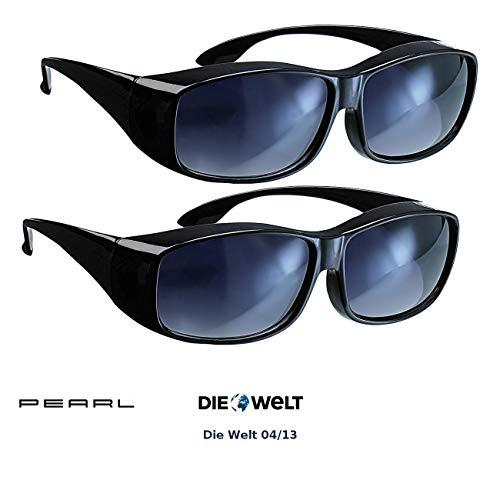 PEARL Überbrillen: 2er-Set Überzieh-Sonnenbrillen Day Vision für Brillenträger (Sonnenbrille auf Normale Brille)