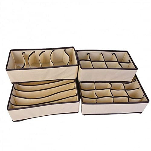 LAMZH Organizadores de cajones Cajas de Armario para Ropa Interior Bufanda Calcetines y Medias Home Storage Sujetador Non-Tejido Ropa Interior Caja de Almacenamiento Zapatos (Color : B6 4pcs)