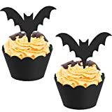 BBTO 48 Pieces Halloween Bat Cupcake Toppers Wrappers Cupcake Liners...