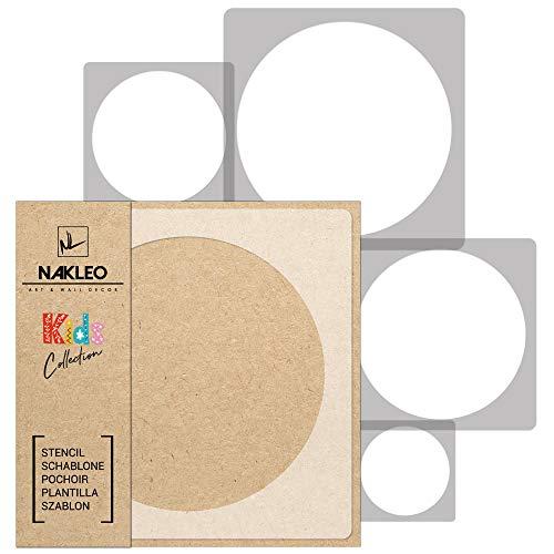 5 Stück wiederverwendbare Kunststoff-Schablonen // KREIS PUNKT // 34x34cm bis 9x9cm // Kinderzimmer-Dekorarion // Kinderzimmer-Vorlage