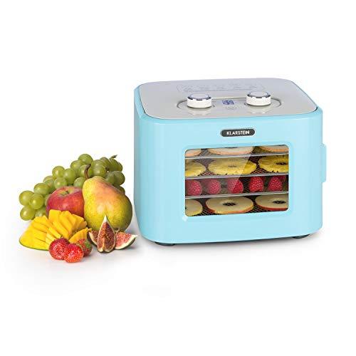Klarstein Tutti Frutti Dörrautomat, Leistung: 400 Watt, Temperatur: 35 - 80 °C, 4 Edelstahl-Ablagegitter, Volumen: 8 Liter, Bedienfeld mit LED-Display, 3D-Zirkulation, 55 dB max., blau