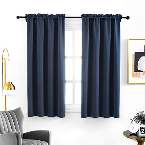 Anjee Blackout Curtains 45 Inches Room Darkening Window Kids Curtain Navy Blue Kitchen Drapes Thermal Insulated Solid Plain Drapery Nursery Panels,Navy Blue 38x45 Inches