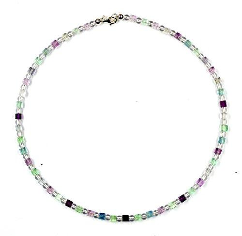Fluorit Schmuck (Halskette) Fluorit Kette mit Bergkristall Verschluss 925er Sterling-Silber Modellnummer 7029